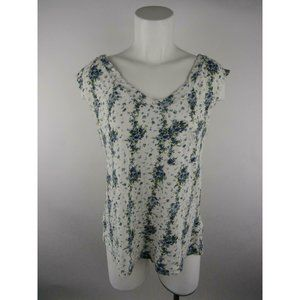 Mossimo Cotton Rayon Floral Pocket Blouse Top